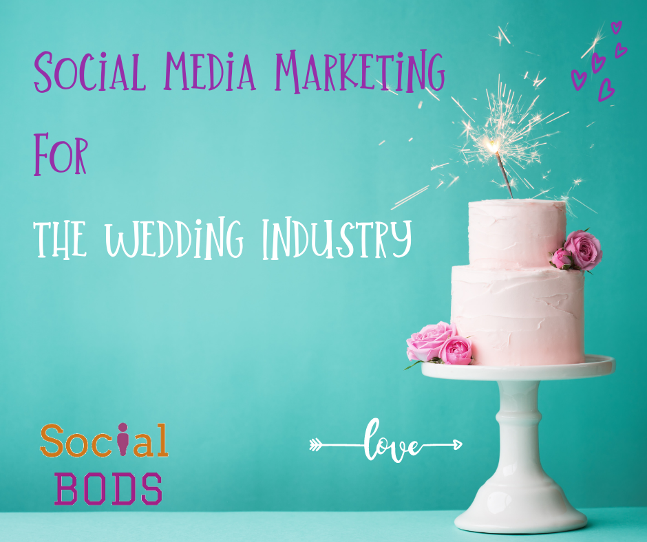 A wedding cake on a blue background with the text Social Media Marketing in the Wedding Industry on it